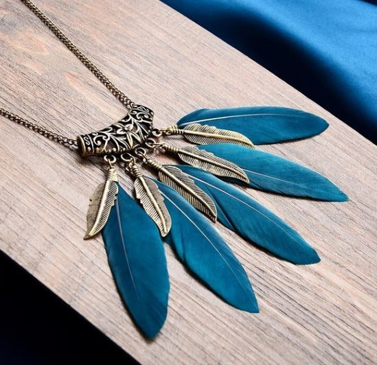 Feather and Leaf Necklace
