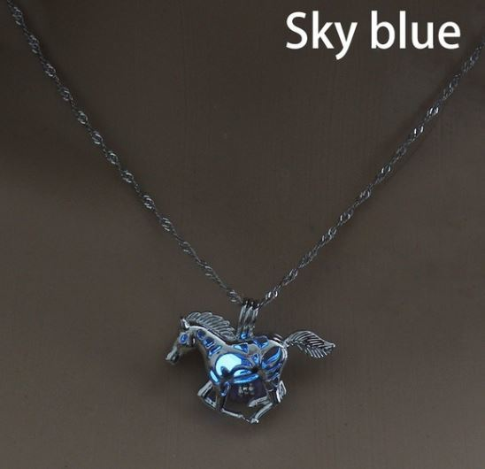 Horse Pendant Glow in the Dark Necklace  Click for options and colors