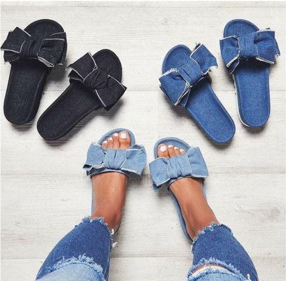 Denim Bow Sandal