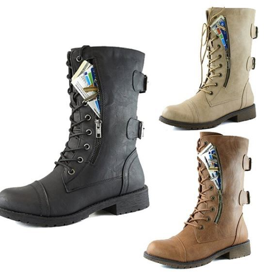 Combat Boots with zipper compartment