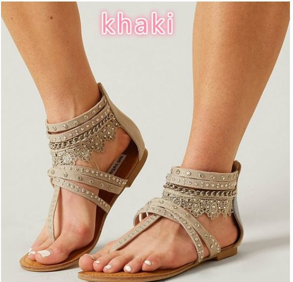 Gypsy lace and rivet sandal