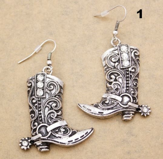 Cowboy boot Earrings Click for options and styles