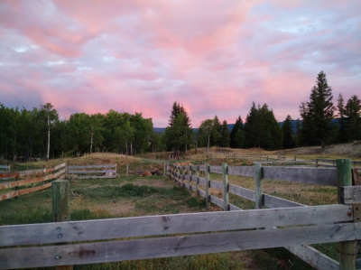 Sunset on the corrals.