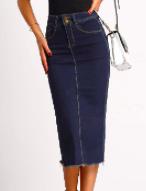 Denim Fray Skirt