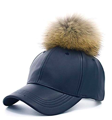 faux leather cap with pom