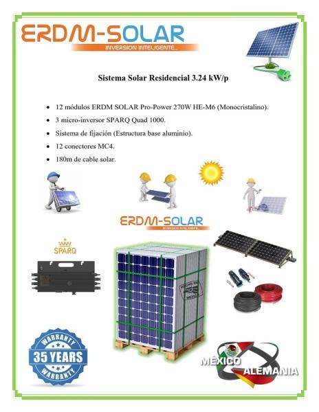 Sistema interconectado a la Red 3.24 kW/p