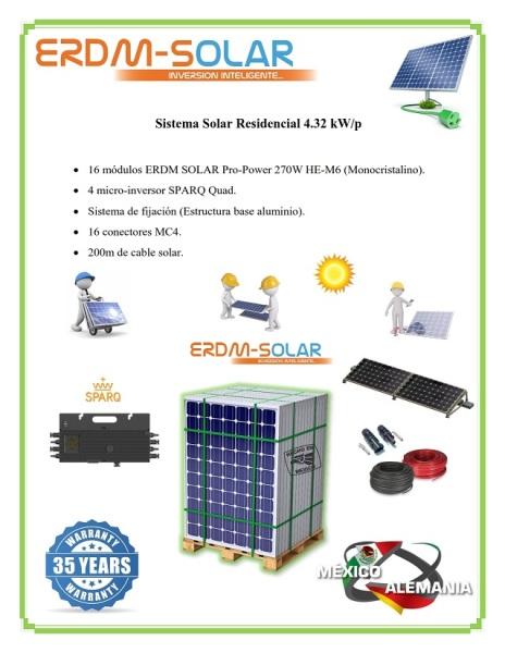 Sistema interconectado a la Red 4.32 kW/p