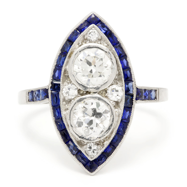14k White Gold Diamond and Sapphire in Art Deco Style