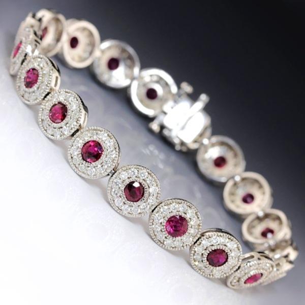 14k White Gold Ruby and Diamond