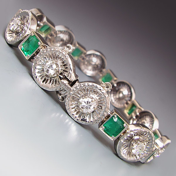 18k White Gold Emerald and Diamond Art Deco Style