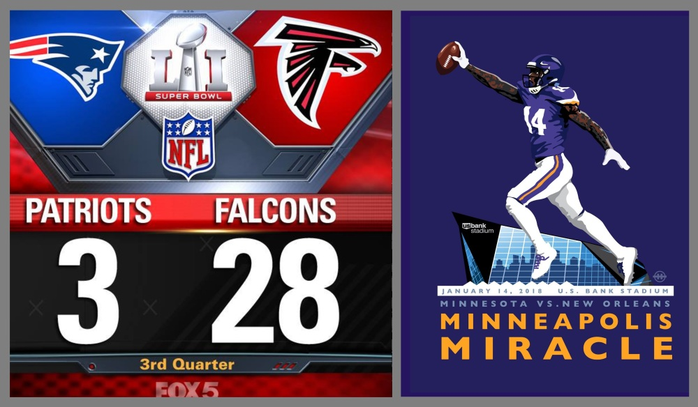 Saints and Falcons: Minnesota Miracle vs. 28-3 Meltdown
