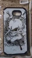 For Samsung Galaxy J3 2017 (Silver Skull) Black Hard/TPU case cover