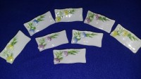 Ceramic Flower Design Reusable (dry-erase) Name Place Holders - Set of 8
