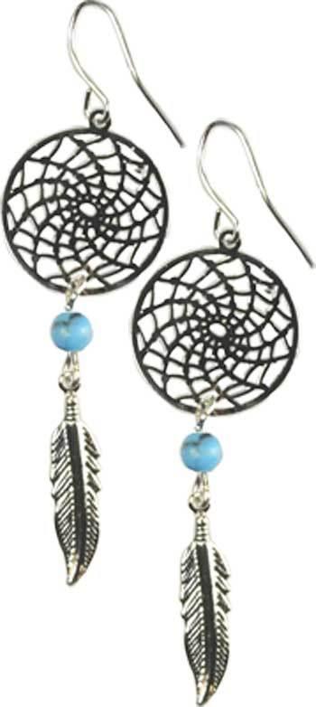 Dream Catcher Earrings w/ Turquoise