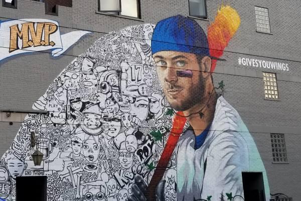 Baseall mural at Wrigley Field