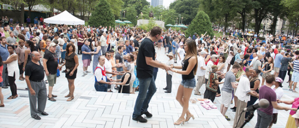 people dancing at summer dance festival in chicago's grant park