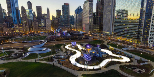 ice skating ribbon at Maggie Daley Park in Chicago