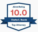 An icon from Avvo, Avvo Rating of 10.0, Charles E. Rounds, Top Attorney.