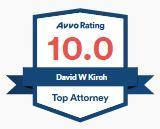 An icon from Avvo, Avvo Rating of 10.0, David W. Kirch, Top Attorney.