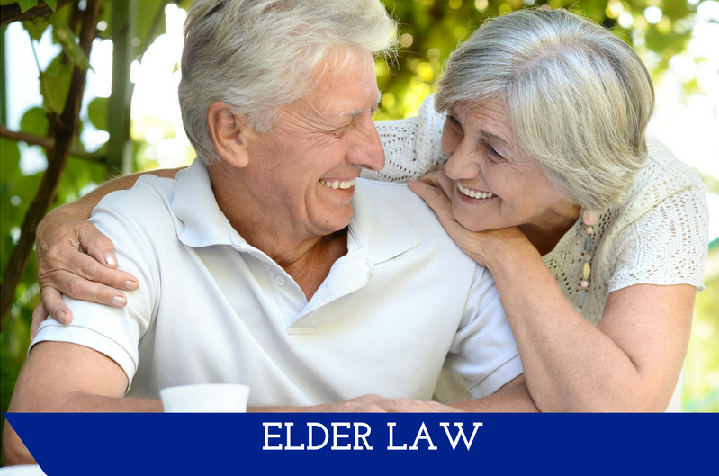 """An elderly woman with her arm around an elderly man.  They are looking at each other with wide smiles.  A banner at the bottom reads """"Elder Law."""""""