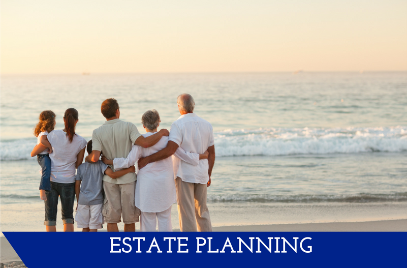 "Image of family looking out at ocean.  Has a banner at the bottom saying ""Estate Planning."""