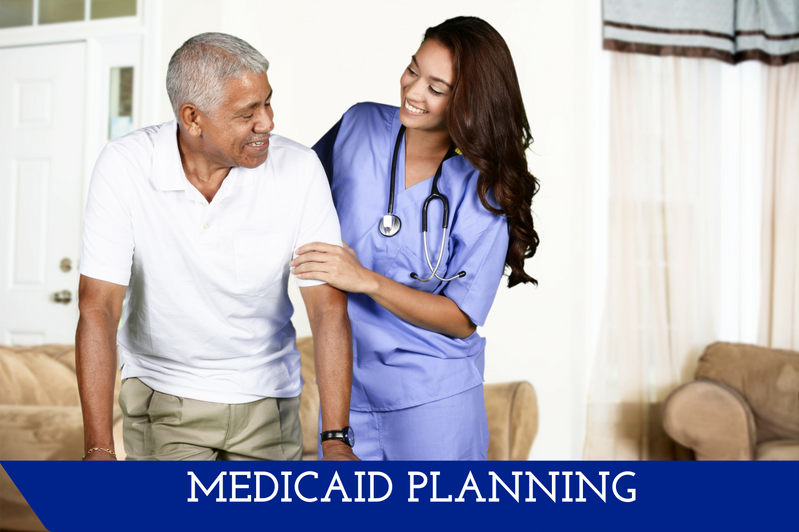 """A nurse helping a man out of a chair.  A banner at the bottom reads """"Medicaid Planning."""""""