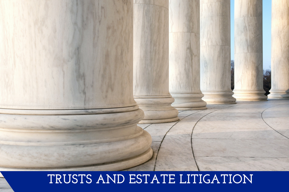 """An image of the bottoms of white marble pillars coming from a white marble floor in a hallway.  A banner at the bottom reads, """"Trusts and Estate Litigation."""""""