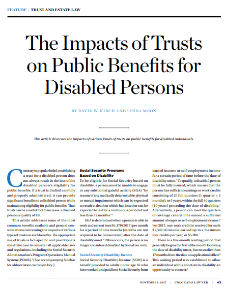 "An image of the article, ""The Impacts of Trusts on Public Benefits for Disabled Persons.""  If clicked on, it will open the article."