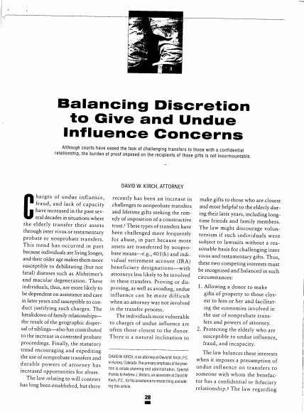 "An image of the article, ""Balancing Discretion to Give and Undue Influence Concerns."" If clicked on, it will open the article."