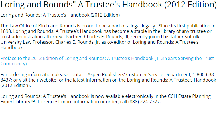 "An image of the article, ""Loring and Rounds: A Trustee's Handbook (2012 Edition)."" If clicked on, it will open the article."