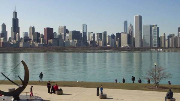 skyline view from planetarium in grant park chicago