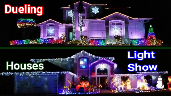 Christmas Light Show - Two houses to Music