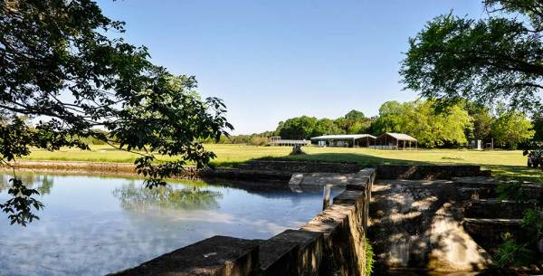Panoramic view of Recration Plantation Campground from the pond