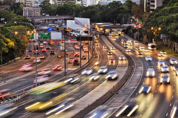 Vehicle traffic on a busy metropolitan road