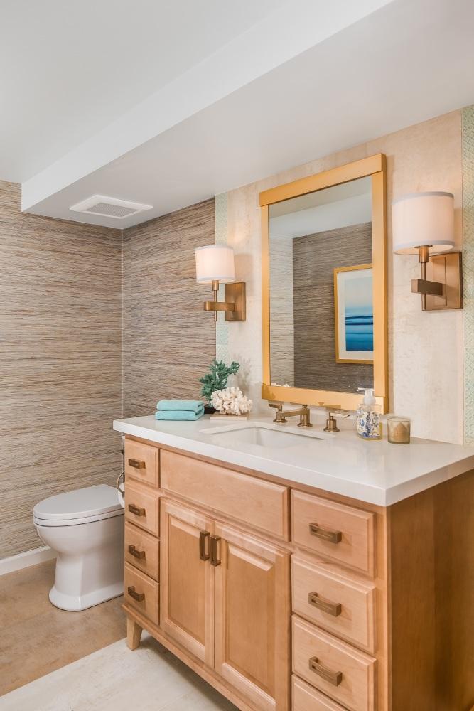 Fiorito Interior Design, interior design, remodel, powder room, grasscloth wallpaper