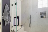 Fiorito Interior Design, interior design, remodel, master bathroom, modern, purple wall, shower