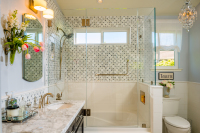 Fiorito Interior Design, interior design, remodel, master bathroom, traditional, vanity, tub, shower, mosaic tile