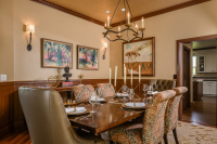 Fiorito Interior Design, interior design, remodel, dining room, traditional, table, chairs, sconces, wainscoting, custom drapes, buffet