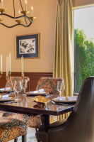 Fiorito Interior Design, interior design, remodel, dining room, traditional, table, chairs, sconces, wainscoting, custom drapes