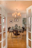 Fiorito Interior Design, interior design, remodel, dining room, table, chandelier, transitional, custom drapes