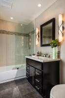 Fiorito Interior Design, interior design, remodel, bathroom, vanity, sconces, tub, shower, modern