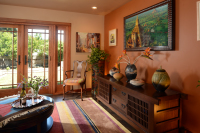 Fiorito Interior Design, interior design, remodel, television room, mirror television, hidden TV, framed television, media console, ethnic, eclectic, Craftsman