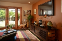 Fiorito Interior Design, interior design, remodel, television room, framed television, mirror television, hidden TV, media console, ethnic, eclectic, Craftsman