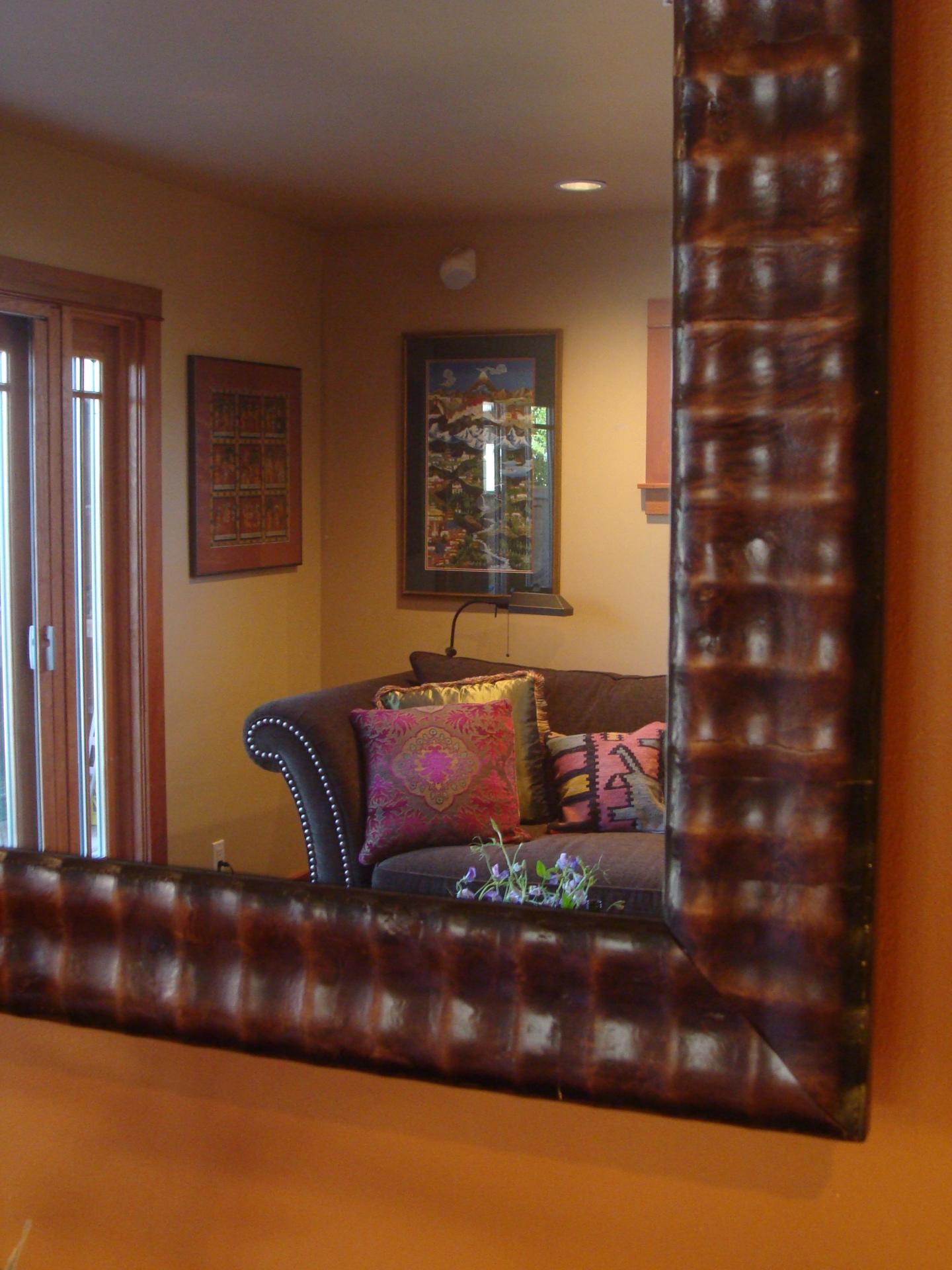 Fiorito Interior Design, interior design, remodel, television room, framed television, mirror television, hidden TV, ethnic, eclectic