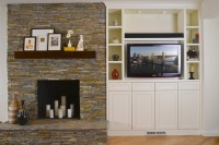 Fiorito Interior Design, interior design, remodel, kitchen, white cabinetry, transitional, fireplace, stacked stone, built-in storage, television