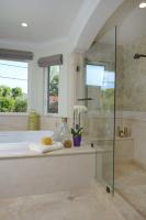 Fiorito Interior Design, interior design, remodel, master bathroom, soaking tub, shower, mosaic tile, marble wainscoting, traditional