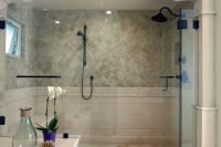 Fiorito Interior Design, interior design, remodel, master bathroom, soaking tub, shower, mosaic tile, marble wainscoting, traditional