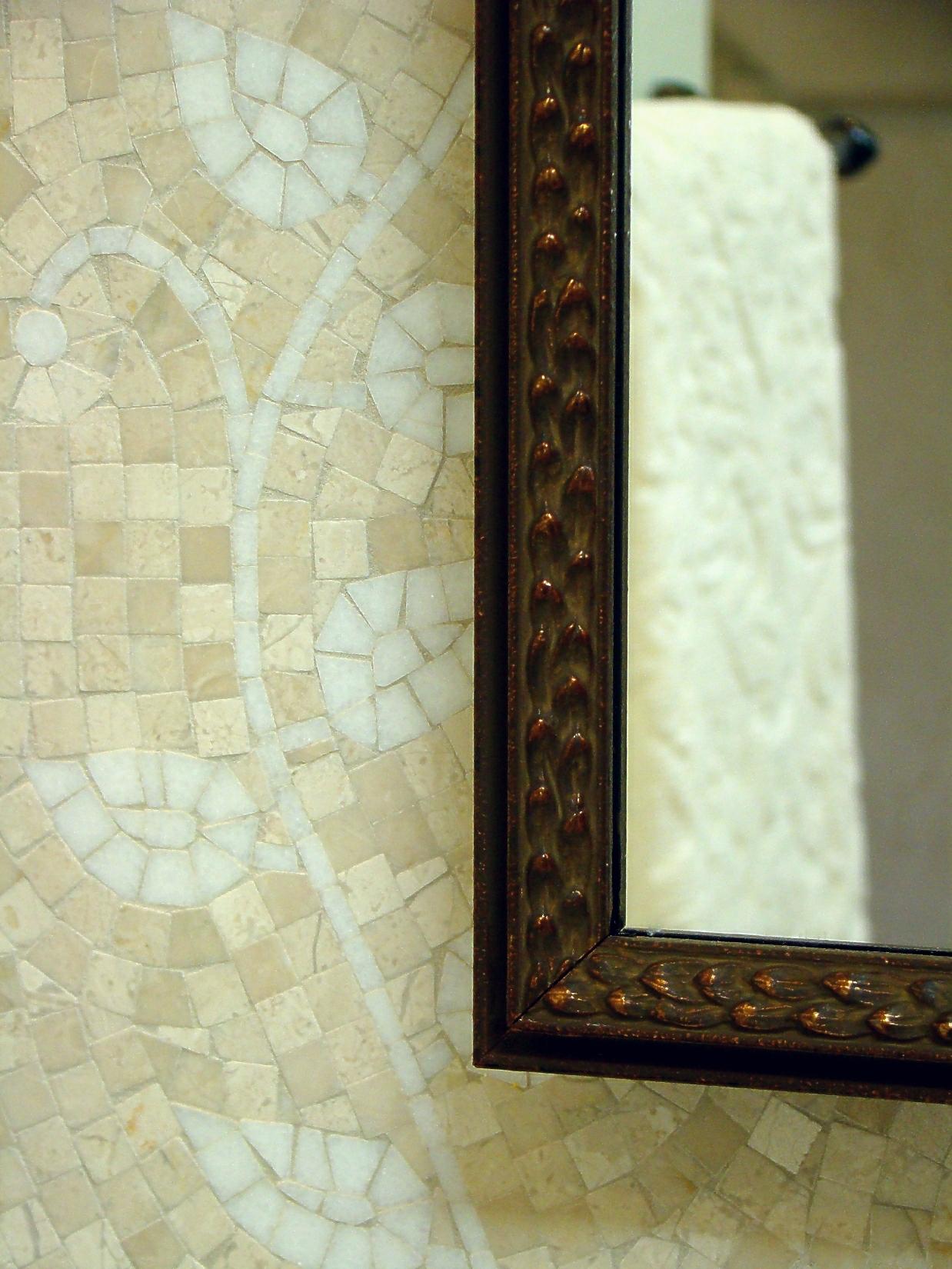 Fiorito Interior Design, interior design, remodel, master bathroom, mosaic tile, mirror frame, traditional