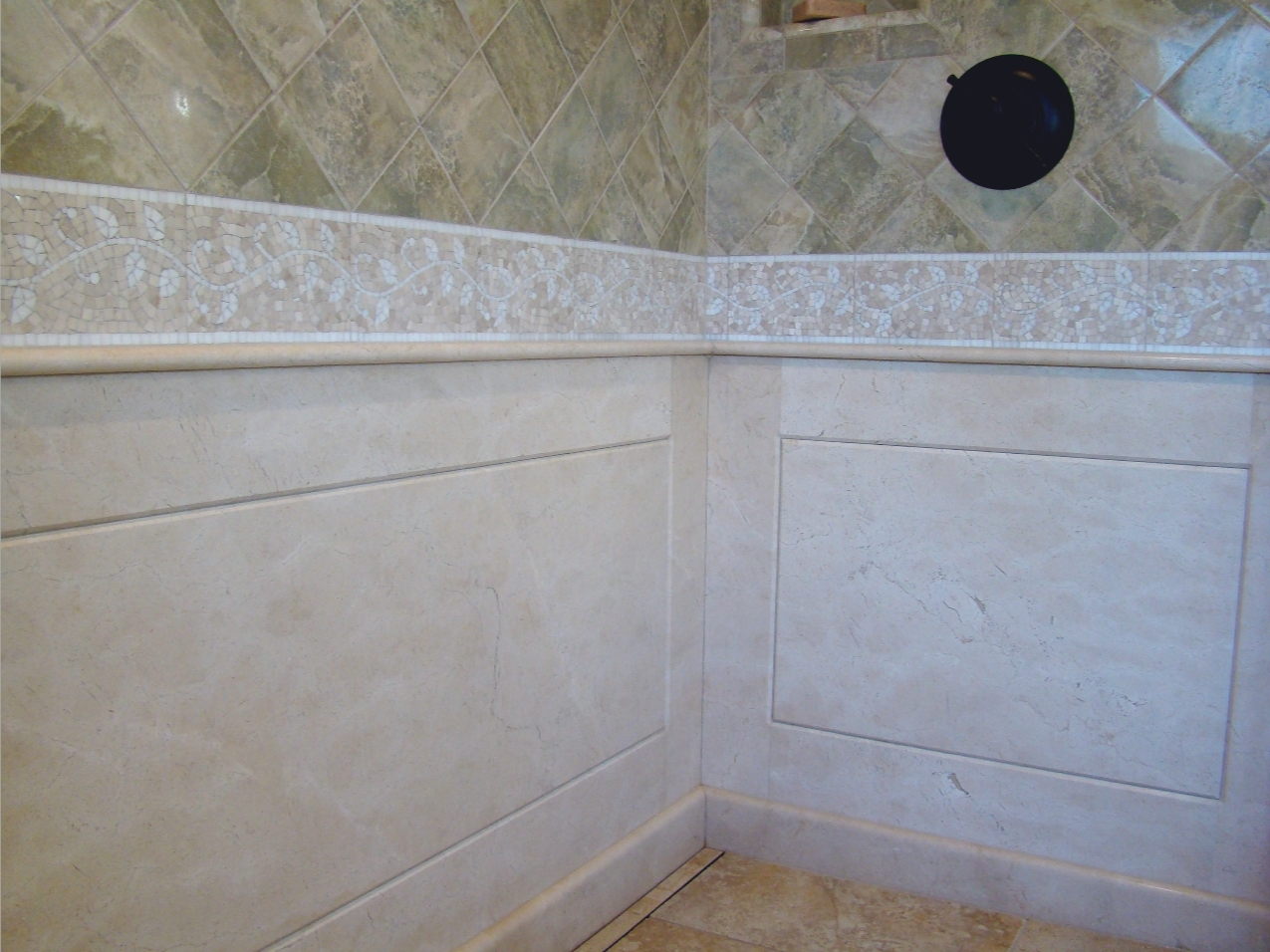 Fiorito Interior Design, interior design, remodel, master bathroom, linear drain, channel drain, shower, mosaic tile, marble wainscoting, traditional