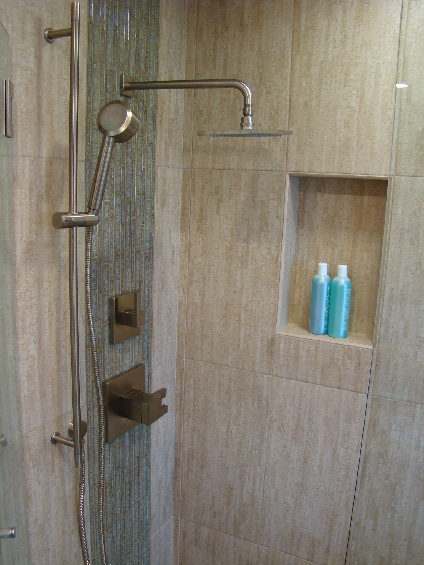 Fiorito Interior Design, interior design, remodel, bathroom, tropical, shower, crackle glass mosaic, modern shower head